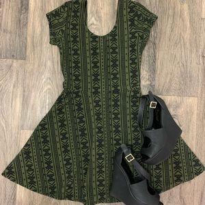Planet Gold Patterned Black & Olive Green Dress